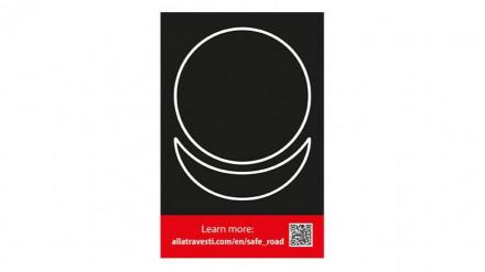 Sticker AllatRa sign white on a black background 10 by 15 cm
